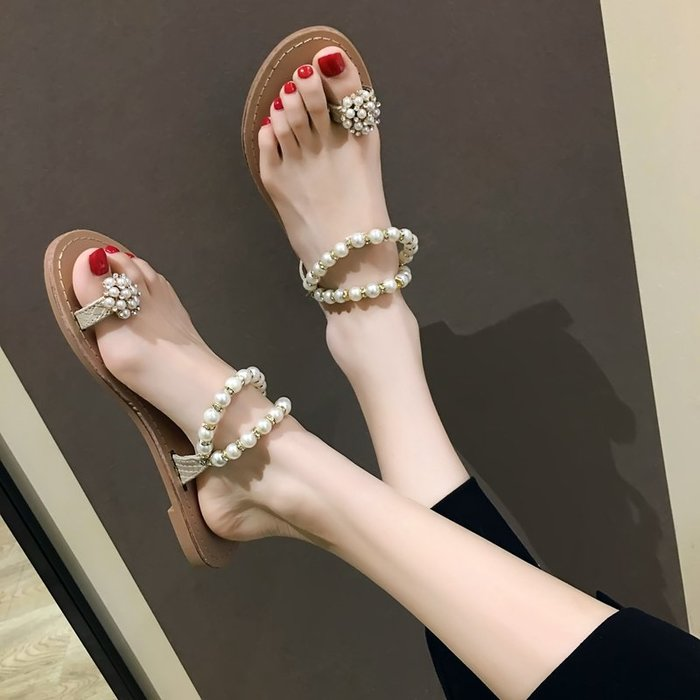 小尤家~網紅拖鞋女可愛ins新款套趾平底沙灘鞋珍珠水鉆韓版百搭涼拖