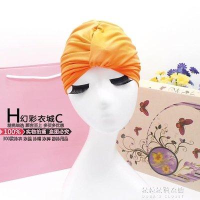 幻彩泳帽女長發成人女士加大不勒頭時尚可愛褶皺溫泉大碼游泳帽布