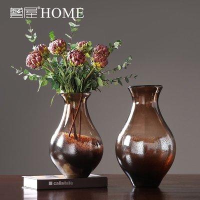 〖洋碼頭〗美式復古玻璃花瓶花器家居裝飾品客廳電視櫃插花器樣板間軟裝擺設 ywj571