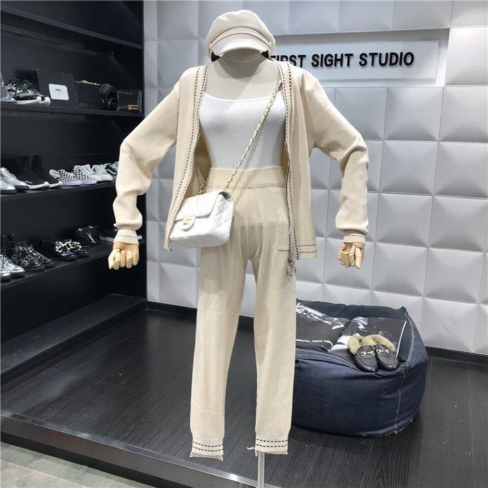 薄外套 外套 衛衣 開衫外套 毛衣秋季新款韓版V領針織開衫休閑套裝女時尚網紅氣質兩件套