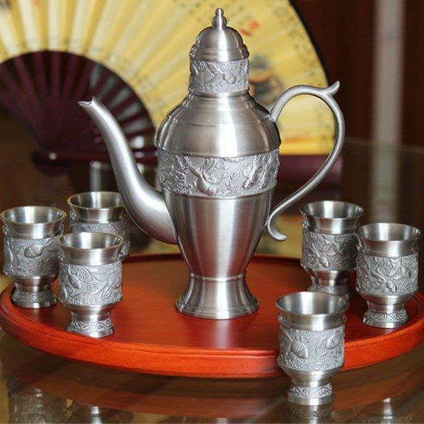 5Cgo【茗道】含稅會員有優惠 16274555799 馬來西亞錫杯酒具套裝錫器錫壺白酒紅酒杯酒壺新結婚禮物商務實用