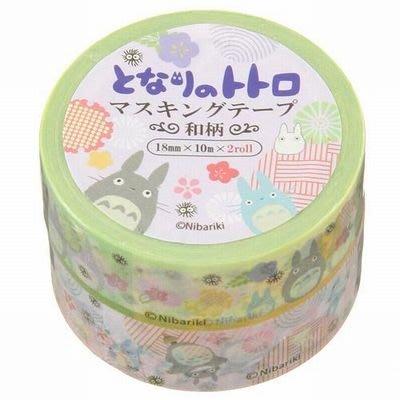《散步生活雜貨-和紙膠帶》日本進口 宮崎駿系列 龍貓TOTORO 兩捲 紙膠帶 18mmx10m - 和風款