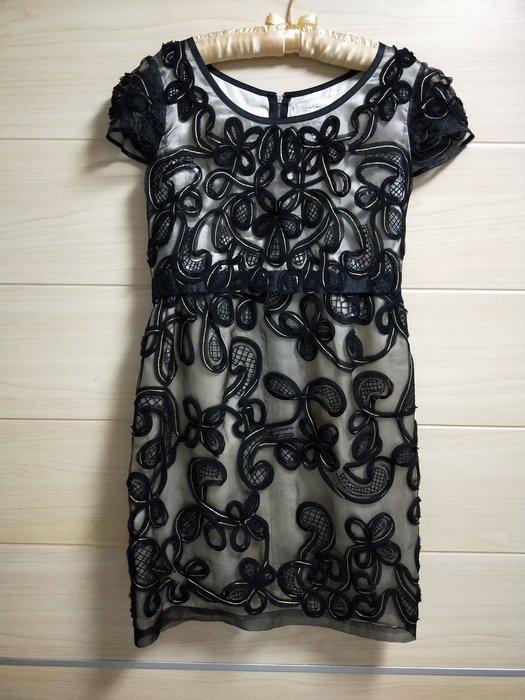 丹丹衣坊--Max Mara款黑色金線小禮服款洋裝
