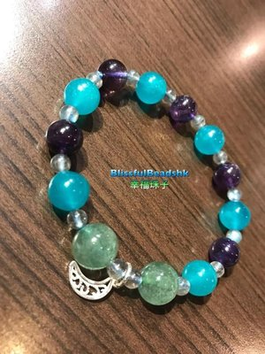 天河石X紫晶X綠草莓晶🍓X灰月光石手鏈🌛