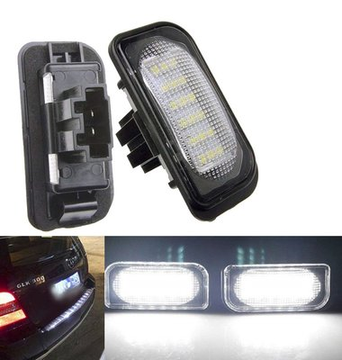2個 汽車牌照燈 BENZ賓士 W203 4D sedan LED超白光 解碼license lamp