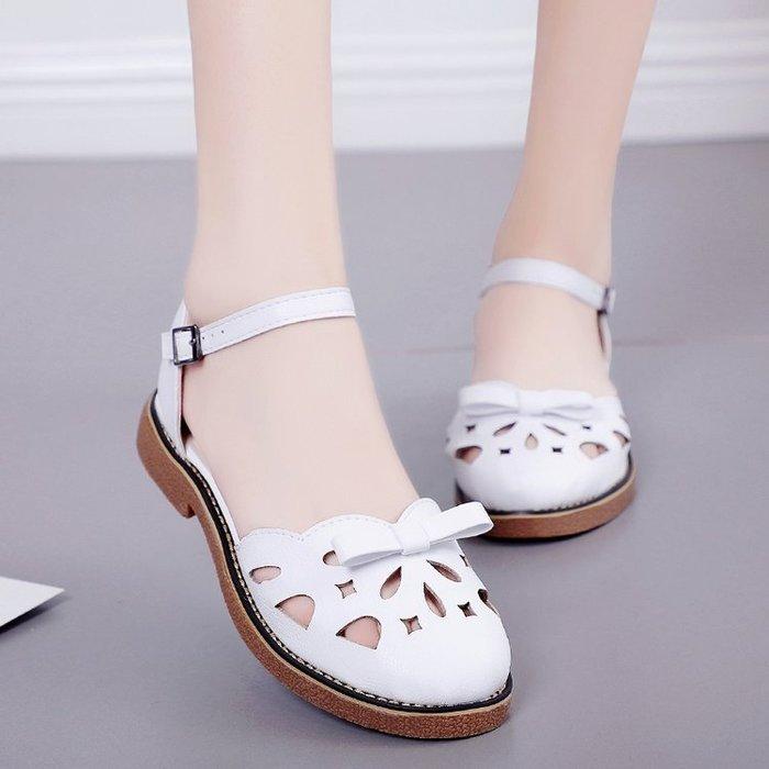 涼鞋女夏季新款英倫風日系森女單鞋洛麗塔lolita牛津底綁帶娃娃鞋