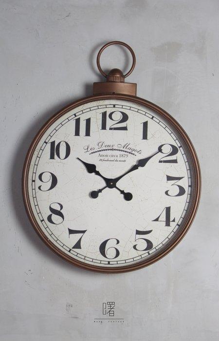 【曙muse】銅色復古大掛鐘 經典時鐘 裝飾品 loft 工業風 咖啡廳 民宿 餐廳 住家