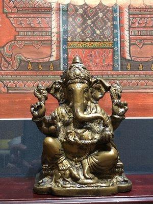 財源廣進信奉者請進「象鼻財神」銅雕佛像+礦物彩繪唐卡(一套讓供)
