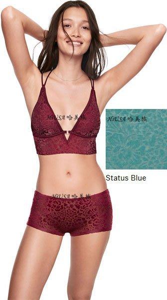 哈美族 美國 Victoria's Secret 維多利亞的秘密 Pink系列 藍綠色 燃燒天鵝絨 平口內褲 美規S