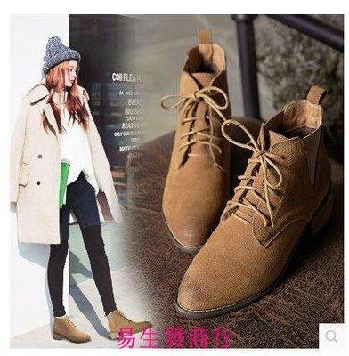 【易生發商行】秋冬潮女系帶短靴粗跟女鞋真皮英倫馬丁靴復古尖頭加絨裸靴F6252