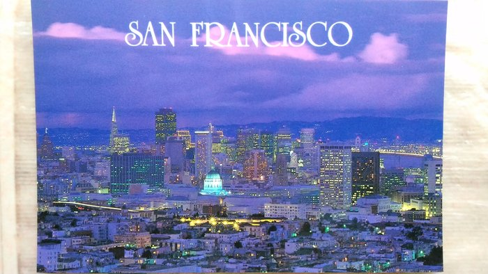The beautiful San Francisco skyline at dusk after a winter …