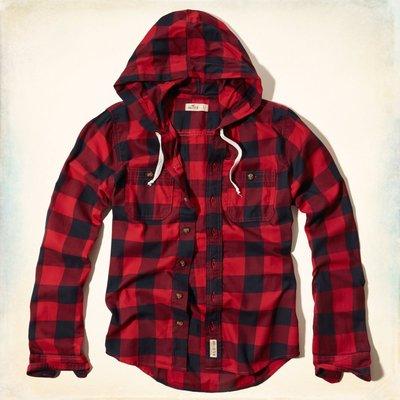 【天普小棧】HOLLISTER HCO Hidden Hills Hooded Shirt連帽格紋襯衫紅色L號