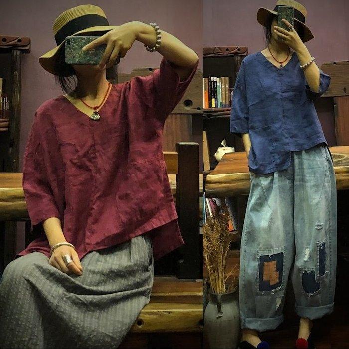 【子芸芳】純亞麻V領7分袖不對稱寬鬆亞麻衫上衣