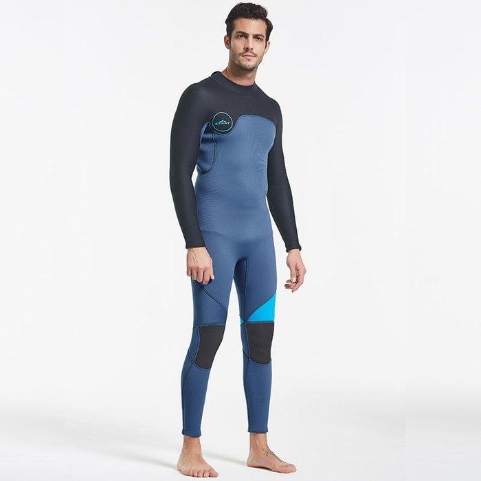 【綠色運動】連體潛水服3MM保暖加厚拼色撞色防割刺后拉鏈潛水服水母衣
