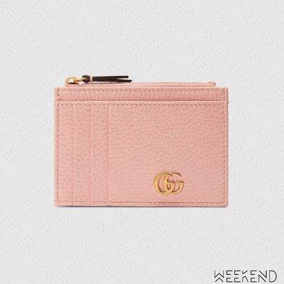 【WEEKEND】 GUCCI GG Marmont 拉鍊 皮夾 短夾 卡夾 零錢包 粉色 574804