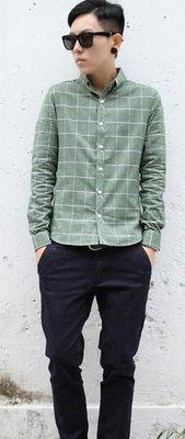 〝MU〞SHOP 小版男裝 0125新款//韓版休閒格子襯衫-3色//綠色