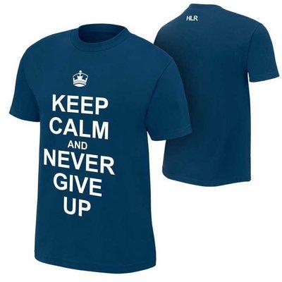 WWE摔角衣服 John Cena Keep Calm and Never Give Up约翰賽納保持冷靜藍色短袖T恤