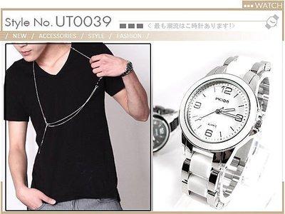 對錶韓國連線 簡約設計 黑白情人陶瓷款...
