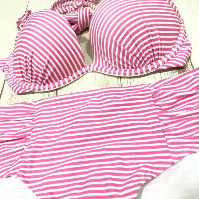 Maple麋鹿小舖 American Eagle * AE 粉色條紋綁帶設計比基尼 * ( 現貨衣34B+褲S號 )