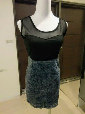 琳達購物中心-實品拍攝-時尚名媛黑色網紗拼接牛仔修身無袖性感連身裙-夜店連身裙-買1送1