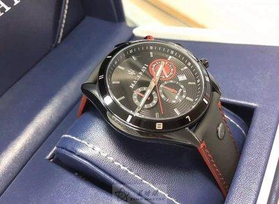請支持正貨,瑪莎拉蒂手錶MASERATI手錶CRONOGRAFI款,編號:R8871624002,黑色錶面黑色皮革錶帶款