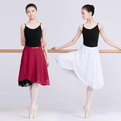成人女舞蹈練功服裝教師中長款系帶雙層雪紡紗裙民族芭蕾舞一片裙