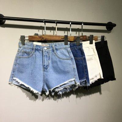 前短后长白色高腰牛仔短裤女夏毛边胖mm加肥加大码宽松200斤热裤