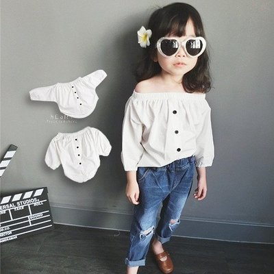 【可愛村】簡約純白一字領襯衫 女童裝 韓版襯衫 純白 伸縮一字領