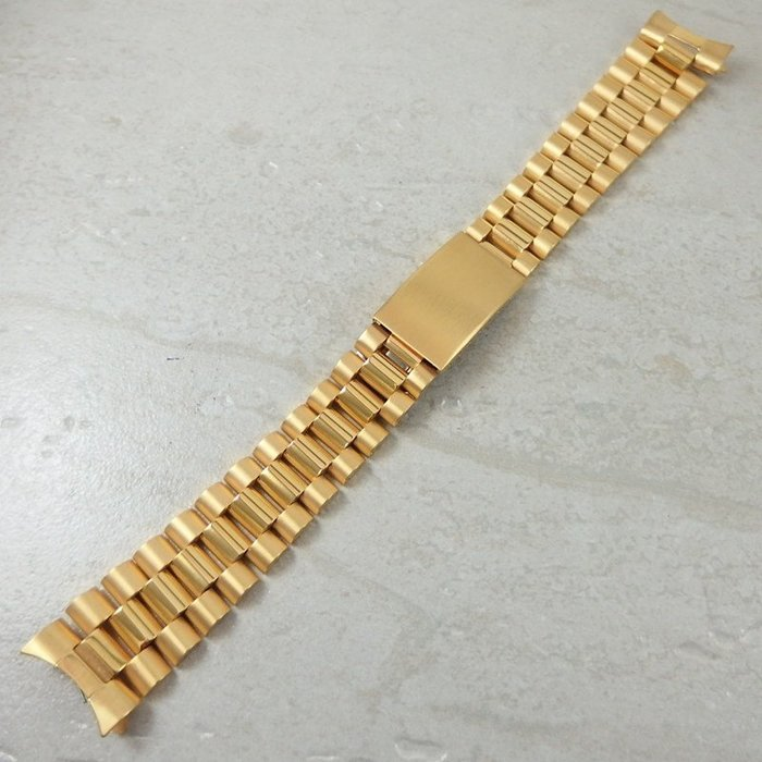 錶帶屋 20mm ROLEX 勞力士款替代 三珠全18k金電鍍不繡鋼錶帶兩邊兩珠實心現貨商品