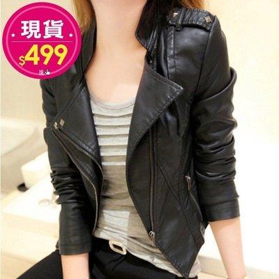 【JD Shop】現貨**女皮衣 時尚有型雙翻領短款皮衣外套 夾克