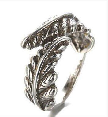 日韓時尚古銀飾純銀中姓男女戒指開口戒指天使雙翼泰銀防過敏