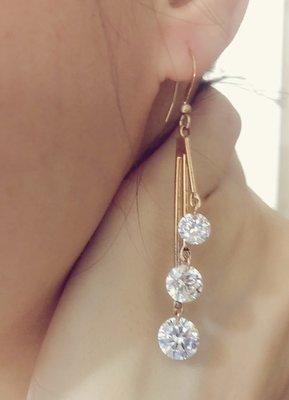 Bring Bring水鑽-日韓簡約氣質玫瑰金耳環 -飾品