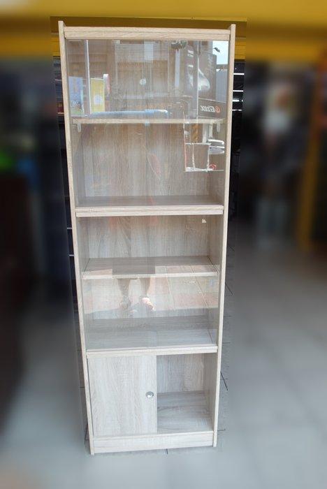 二手家具百豐悅-全新庫存白橡色玻璃書櫃 60*180展示櫃 書架書櫥 有門展示櫃 置物櫃 新竹二手家具辦公家具全新庫存