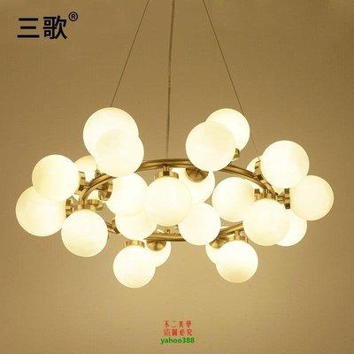 【美學】北歐吊燈簡約餐廳酒吧藝術現代圓形玻璃客廳吊燈MX_1962