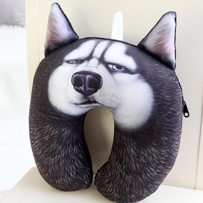 最新上架~~U型枕3D狗狗二哈薩摩秋田 午休U枕頭枕u型枕頭護頸枕頸椎u形枕脖子午睡