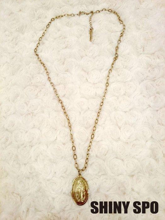 SHiNY SPO 日本品牌 Lagunamoon 金色橢圓中聖母瑪利亞人像項鍊 特價