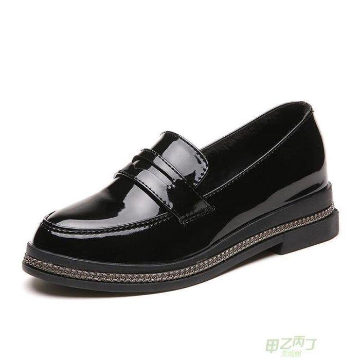 交換禮物 小皮鞋女鞋春秋季新品英倫風復古休閒鞋女平底學院風厚底單鞋