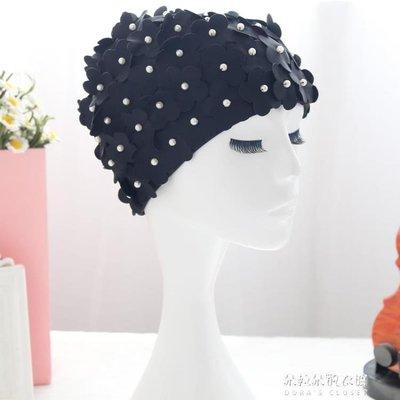 時尚舒適長發手工花瓣珍珠護耳泳帽女長短發成人游泳帽子