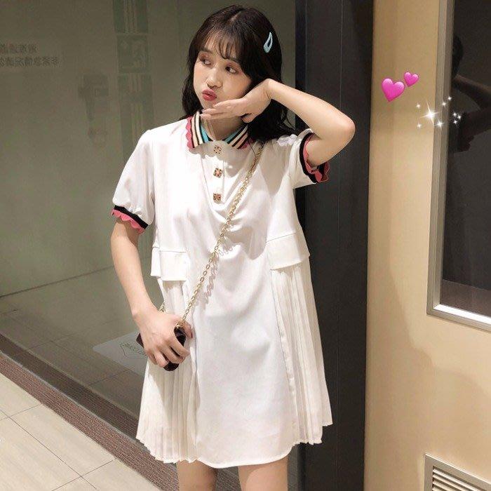 小香風 短袖T恤 時尚穿搭 韓版 彩虹領百褶短袖連衣裙學生氣質女裝法國小眾裙子