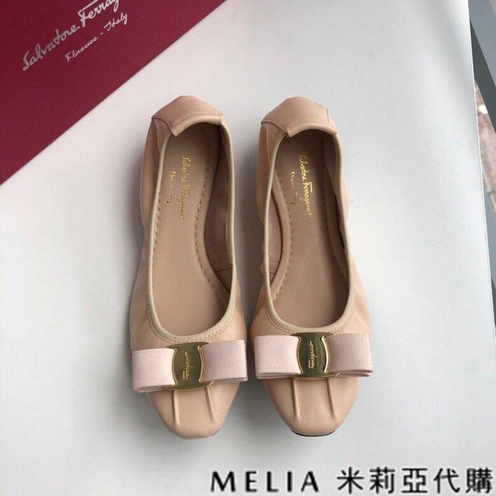 Melia 米莉亞代購 歐美精品女鞋 商城特價 SALVATORE FERRAGAMO 蛋捲鞋 金扣蝴蝶結設計 杏色