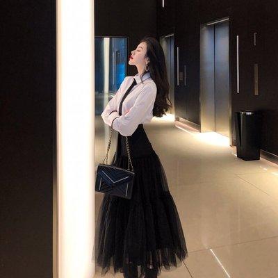 日韓女裝 洋裝 T恤 女褲 網紅法式赫本套裝裙2019春夏時尚洋氣白色襯衫高腰網紗半身裙女裝