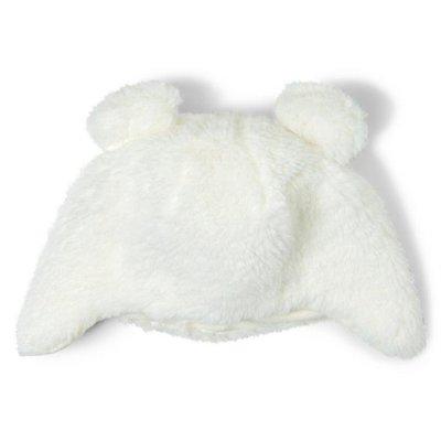 [美國購回] 美國童裝名牌 Janie and Jack Sherpa Bear Hat 白色毛絨牧羊人熊熊帽 3-6M