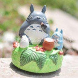 【紫色風鈴1】宮崎駿動畫系列三隻龍貓進餐八音盒音樂盒禮物樹脂擺件