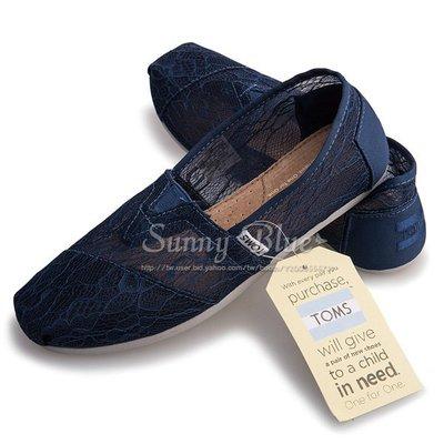 【TOMS】(女)TOMS Ink Lace 蕾絲休閒懶人鞋-深藍色 台北市