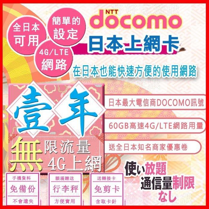 *日本好好玩 超商免運費* 1年 12個月 一年 日本上網卡 60G超高用量 4G 吃到飽 送行李秤 docomo 網卡