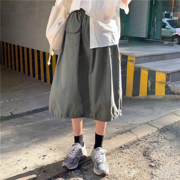SeyeS  MINI 復古率性女孩百搭單品古著工作風基本款工裝抽繩及膝A字裙
