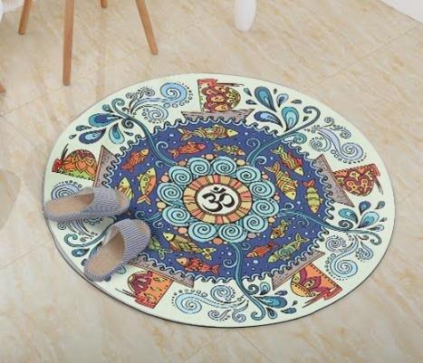 (全館免運)納古迪小圓形瑜伽墊防滑天然橡膠加厚圓的打坐墊印花地墊毯冥想墊—貝迪熊