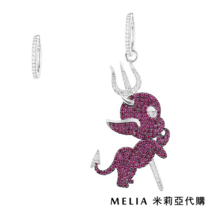 Melia 米莉亞代購 商城特價 數量有限 每日更新 19ss APM MONACO 飾品 不對稱耳環 鑲桃紅晶鑽魔鬼