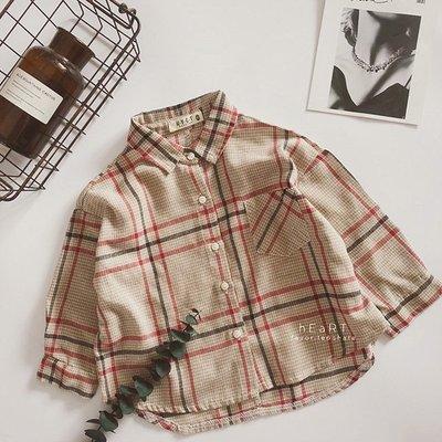 【可愛村】文青風復古格子襯衫 童裝 襯衫 上衣 格子