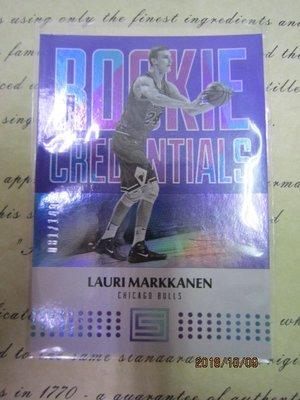 新賣家~17/18~Lauri Markkanen /149~RC~STATUS~CREDENTIALS~限量/149~